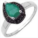 0.80CTW Genuine Emerald & Black Spinel.925 Sterling Silver Ring
