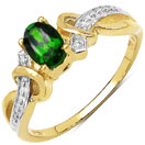 0.47CTW Genuine Chrome Diopside 14K Yellow Gold Plated .925 Sterling Silver Solitaire Ring