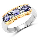 1.23CTW Genuine Iolite .925 Sterling Silver 3 Stone Ring