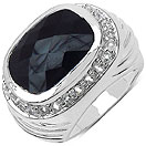 9.23CTW Genuine Black Onyx & White Topaz Rhodium Plated Brass Ring