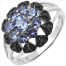1.18CTW Genuine Tanzanite & Black Spinel .925 Sterling Silver Ring