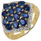 3.50CTW Genuine Blue Sapphire 14K Yellow Gold Plated .925 Sterling Silver Ring
