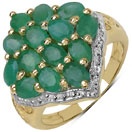 2.80CTW Genuine Emerald 14K Yellow Gold Plated .925 Sterling Silver Ring