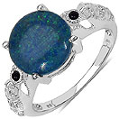 5.00CTW Genuine Opal & Black Spinel .925 Sterling Silver Ring