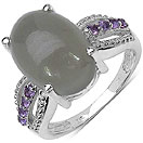 7.04CTW Genuine Grey Moonstone & Amethyst .925 Sterling Silver Ring