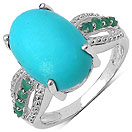 6.34CTW Genuine Turquoise & Emerald .925 Sterling Silver Ring