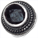 8.00CTW Genuine Black Onyx .925 Sterling Silver Ring
