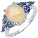 2.60CTW Genuine Ethiopian Opal & Tanzanite.925 Sterling Silver Ring