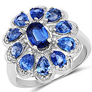 2.88CTW Genuine Kyanite .925 Sterling Silver Floral Shape Ring