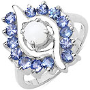0.35CTW Genuine Opal & Tanzanite .925 Sterling Silver Ring