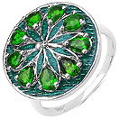 1.53CTW Genuine Chrome Diopside .925 Sterling Silver Green Enamel Ring