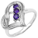 0.30CTW Genuine Amethyst .925 Sterling Silver Heart Shape Ring