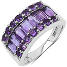 3.43CTW Genuine Amethyst .925 Sterling Silver Ring