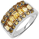 3.50CTW Genuine Citrine .925 Sterling Silver Ring