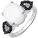 3.20CTW Genuine Opal & Black Spinel .925 Sterling Silver Ring