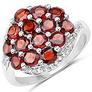 2.67CTW Genuine Garnet & White Topaz .925 Sterling Silver Ring
