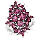 4.36CTW Genuine Rhodolite .925 Sterling Silver Cluster Ring