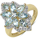 1.61CTW Genuine Aquamarine 14K Yellow Gold Plated .925 Sterling Silver Ring
