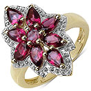 2.20CTW Genuine Rhodolite 14K Yellow Gold Plated .925 Sterling Silver Ring