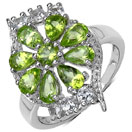 2.39CTW Genuine Peridot & White Topaz .925 Sterling Silver Ring