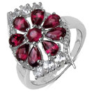 2.84CTW Genuine Rhodolite & White Topaz .925 Sterling Silver Ring