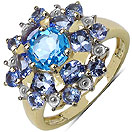 2.44CTW Genuine Swiss Blue Topaz & Tanzanite 14K Yellow Gold Plated .925 Sterling Silver Ring