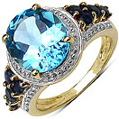 6.07CTW Genuine Blue Topaz & Blue Sapphire 14K Yellow Gold Plated .925 Sterling Silver Ring