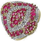 2.52CTW Genuine Ruby 14K Yellow Gold Plated .925 Sterling Silver Ring
