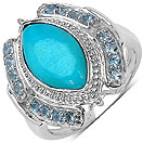 2.74CTW Genuine Turquoise & Aquamarine .925 Sterling Silver Ring