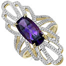 2.96CTW Genuine Amethyst 14K Yellow Gold Plated .925 Sterling Silver Ring