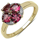 0.94CTW Genuine Pink Tourmaline & White Topaz 14K Yellow Gold Plated .925 Sterling Silver Ring