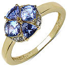 1.10CTW Genuine Tanzanite & White Topaz 14K Yellow Gold Plated .925 Sterling Silver Ring