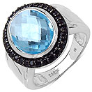 7.60CTW Genuine Blue Topaz & Black Spinel .925 Sterling Silver Oval Shape Ring