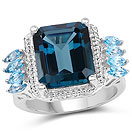 8.17CTW London Blue Topaz & Swiss Blue Topaz .925 Sterling Silver Ring