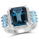 8.17CTW London Blue Topaz & Swiss Blue Topaz .925 Sterling Silver Ring