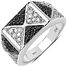 0.84CTW Genuine White Diamond & Black Diamond .925 Sterling Silver Ring