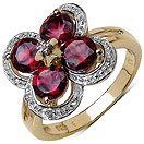 2.02CTW Genuine Rhodolite & White Topaz 14K Yellow Gold Plated .925 Sterling Silver Ring