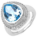 5.50CTW Genuine Blue Topaz .925 Sterling Silver Ring