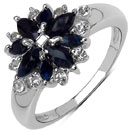 1.68CTW Genuine Blue Sapphire & White Topaz .925 Sterling Silver Ring