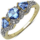 1.01CTW Genuine Tanzanite & Tanzanite 14K Yellow Gold Plated .925 Sterling Silver Ring