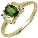 0.55CTW Genuine Chrome Diopside & White Topaz 14K Yellow Gold Plated .925 Sterling Silver Ring