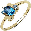 0.61CTW Genuine Blue Topaz 14K Yellow Gold Plated .925 Sterling Silver Ring
