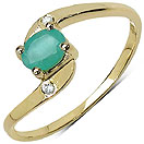 0.38CTW Genuine Emerald & White Topaz 14K Yellow Gold Plated .925 Sterling Silver Ring