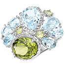 """7.28CTW Amethyst, Blue Topaz & Peridot .925 Sterling Silver Ring"""
