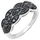 0.28CTW Genuine Blue Diamond .925 Sterling Silver Ring