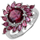 3.64CTW Genuine Rhodolite .925 Sterling Silver Ring