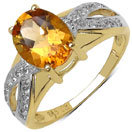 2.19CTW Genuine Citrine & White Topaz 14K Yellow Gold Plated .925 Sterling Silver Ring