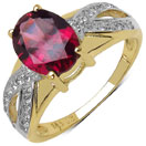 2.49CTW Genuine Rhodolite & White Topaz 14K Yellow Gold Plated .925 Sterling Silver Ring