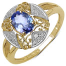 0.76CTW Genuine Tanzanite & White Diamond 14K Yellow Gold Plated .925 Sterling Silver Ring