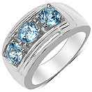 1.80CTW Genuine Blue Topaz & White Diamond .925 Sterling Silver Ring